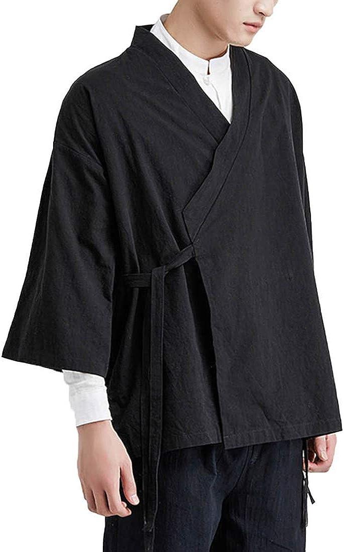 Men's Vintage Kimono Cardigan Cotton Linen Wrap Front Japanese Jinbei Haori Jacket Loose Fit Solid Color Hanfu Top Cover Up
