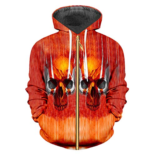 3D Red Hoodiess Skull Printed Hoodies Sudadera Chándales Streetwear Top Red Skull S