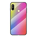 Grandcaser Xiaomi Mi A2 Lite Étui,Ultra-Mince Advanced Fibre Carbone Texture Gradient Glass Box...