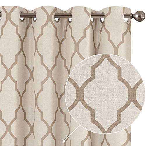 Curtains Living Room Darkening Drapes Bedroom Linen Textured Window Treatment Panels 54 inch Long One Panel Taupe on Beige
