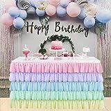 HBBMAGIC colorato Gonna Tavolo di Tulle per rettangolo o tavola Rotonda, Fatto a Mano Arcobaleno Tulle Decorazione Tavolo per Feste, Matrimoni, Compleanno, Carnevale, Decorazioni Camera Unicorno