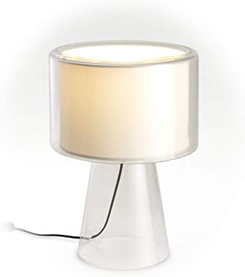 LED Desk Lamp E27 FBT Dim 18W with Fabric Shade and Blown Glass Frame, Mercer, Pearl White, 38 x 38 x 53 cm (Reference: A89-070)