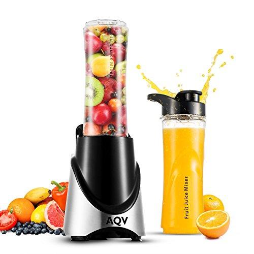 AQV Mini Blender à Smoothie, Acier Inoxydable, Extracteur Électrique, Multifonction avec deux bouteilles (sans Bisphénol A) transportable pour le sport de 500ml, couleur Argent & Noir