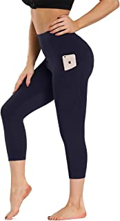 ZOOSIXX Yoga Pants for Women - Capri High Waisted Workout Leggings with Pockets Tummy Control 4 Way Stretch Running Tights