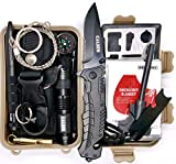COLSEN Emergency Survival Kit 13 in 1, Outdoor Survival Gear Tool with Fire Starter, Whistle, Wood Cutter, Water Bottle Clip, Tactical Pen and More