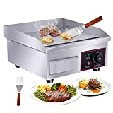 Shikha 14'' Electric Countertop Griddle Grill Non-Stick,110V 1500W Stainless Steel Griddle Flat Commercial Grill Hot Plate Adjustable Temperature Control for Kitchen Restaurant 122°F-572°F