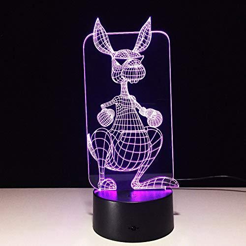 Canguro 3D Led Ilusión óptica Luz de noche inteligente, 7 colores que cambian USB Interruptor táctil de encendido Lámpara de decoración Mesita de noche Lámpara de escritorio Regalo de Navidad para