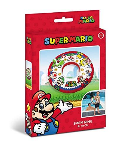 Mondo Mondo-16873 Toys-Super Mario Swim Ring-Ciambella Gonfiabile-Anello di Nuoto Salvagente-Ideale Bambina Utilizzabile in Piscina/mare-16873, Multicolore, 16873
