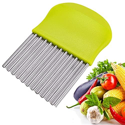 Aaskuu Cortadora de patatas de acero inoxidable, cortador de arrugas, hoja ondulada de patata, cortador de frutas vegetales, herramienta de corte de utensilios de cocina (verde)
