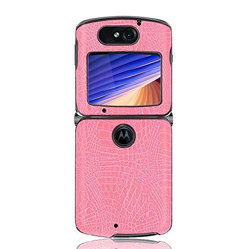 coque Hülle für Motorola Razr 5G,Krokodil Textur Handyhülle für Motorola Razr 5G(Rosa)