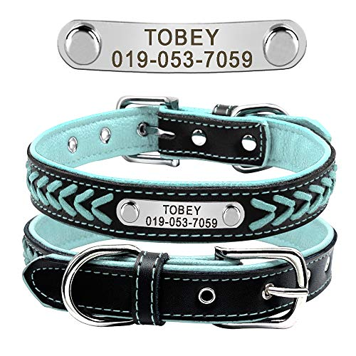 Didog Leather Custom Collar,Braided Leather Engraved Dog Collars with Personalized Nameplate for Small Medium Large Dogs,Blue,M Size
