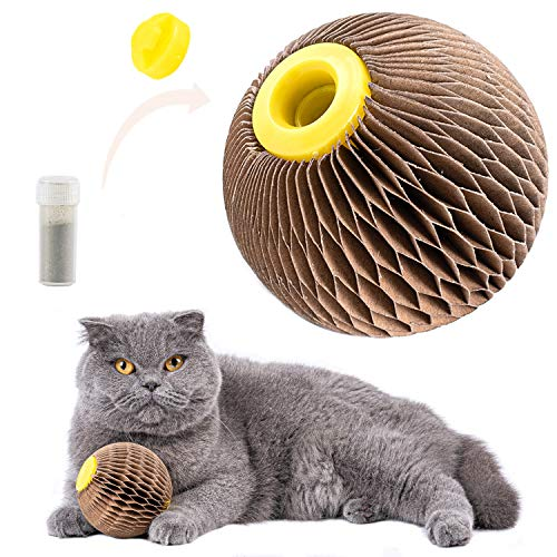 ARELLA Catnip Ball Toy for Cats Catnip Refillable Scratcher Ball Kitty's Faithful Playmate Reduce Obesity and Loneliness CSB01BR