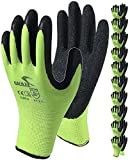 Coated Work Gloves for Men and Women, 10-Pair Pack, Safety Gloves for Working, Gardening, Utility, Rugged Latex Rubber Firm Grip Coating (Medium, Green)
