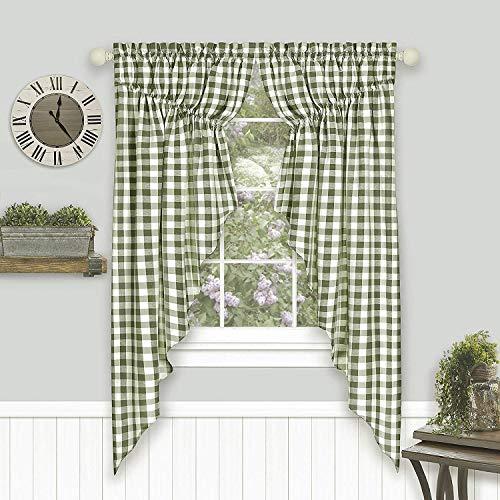"Woven Trends Farmhouse Curtains, Buffalo Plaid Curtain Shades, Gathered Swag Set, Classic Country Plaid Gingham Checkered Design, Farmhouse Décor, 72"" x 63"" Gathered Swag Pair (2-Pack), Sage"