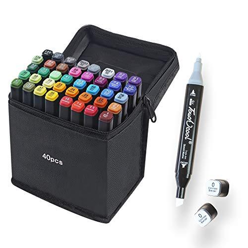 40 Colores Marker Pen Set Dibujo Rotulador Animación Boceto Marcadores Set con Estuche de Transporte para Dibujar Colorear Resaltar y Subrayar (40 Pcs)