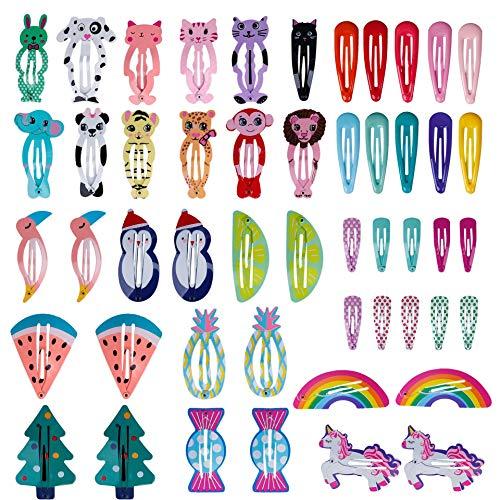 Pinza de Pelo 50 Piezas de Clips de Pelo de Niñas Metal Multicolor Pelo Horquillas Diseño de Dibujos Animados...