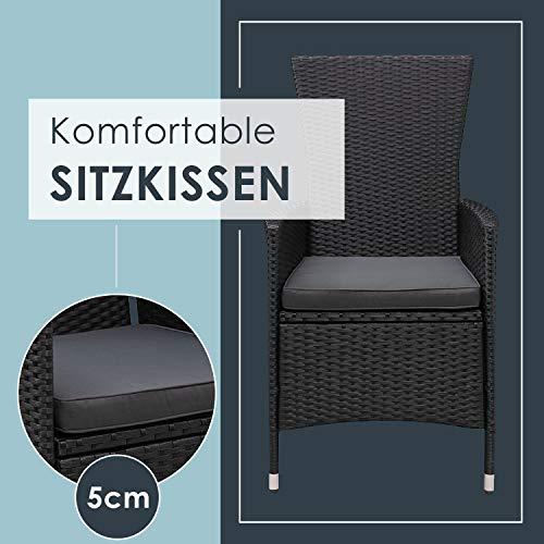 ArtLife Polyrattan Sitzgruppe Rimini Plus 9-teilig schwarz | Gartenmöbel Set mit Tisch, 8 Stühlen & Kissen | graue Bezüge | Rattan Balkonmöbel - 7