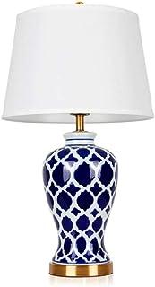 WYBFZTT-188 Moderne Tischlampe Blau Weiß Keramik Weiß Leinengewebe-Drum Schatten for Wohnzimmer Schlafzimmer Nacht