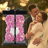 Rosenblumenbär, Blumen auf jedem Rosenbären-Rosen-Teddybär Geschenk für Muttertag, Valentinstag, Jubiläum & Brautduschen - Klare Geschenkbox inklusive! (pink, 10in)