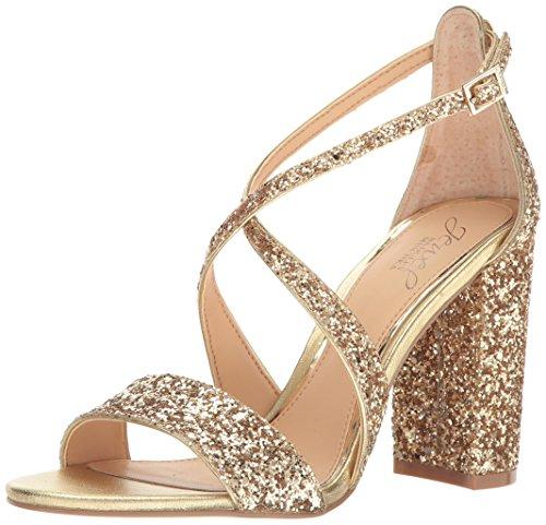 Jewel Badgley Mischka Women's Cook Dress Sandal, Gold Glitter, 8.5 M US