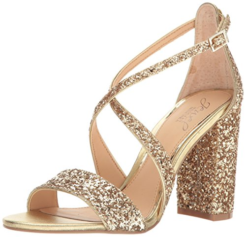 Jewel Badgley Mischka Women's Cook Dress Sandal, Gold Glitter, 8.5 M US