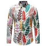 LSDJGDDE Camisas para hombre con estampado floral de primavera para hombre, camisas de manga larga, estampadas informales y delgadas (color: verde, tamaño: código XL)