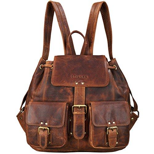 STILORD 'Larissa' Vintage Rucksack Leder Damen Rucksackhandtasche Lederrucksack Handtasche DIN A4 City Shopping Daypack Schule Uni, Farbe:Kara - Cognac