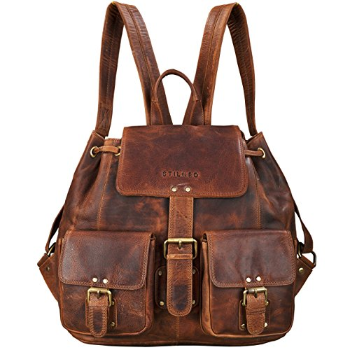 STILORD 'Larissa' Zaino Donna Vintage in Pelle Zainetto A4 per PC Tablet MacBook 13,3 pollici casual retrò in vera pelle, Colore:kara - cognac