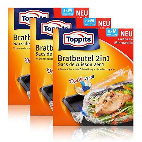 3x Toppits Bratbeutel 2in1 Inhalt 8 stk. - Größe M - max. 2,5 kg