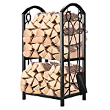 Pinty Firewood Log Rack with 4 Tools Firewood Storage Fireplace Tool Set Indoor...