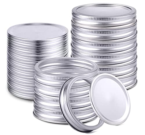 100 Pieces Regular Mouth Canning Lids and Rings for Ball, Kerr Jars - Leak Proof Split-Type Mason Jars Lids and Bands for Canning Jar - Silver