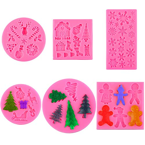 Aneco 6 Pieces Christmas Cake Silicone Fondant Molds Chocolate Candy Molds Set Non Stick Candy Molds Cookies Baking Trays Pan Ice Cube Making with Christmas Elements Shapes for Party Decoration (Pink)