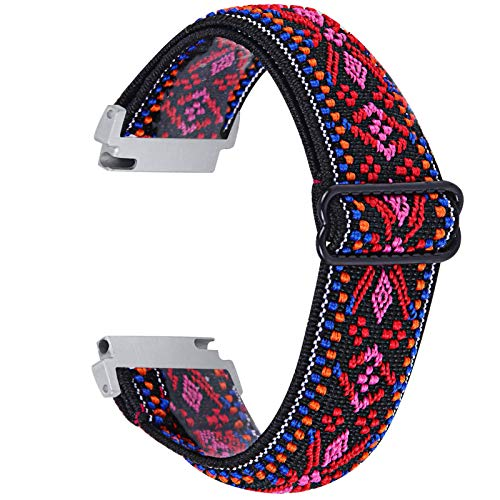 Elastic Bands Compatible with Letsfit IW1 EW1 Smart Watch Band, Adjustable Stretchy Nylon Loop Wristband Replacement Soft Straps for Letsfit IW1 EW1(Not for 205L)