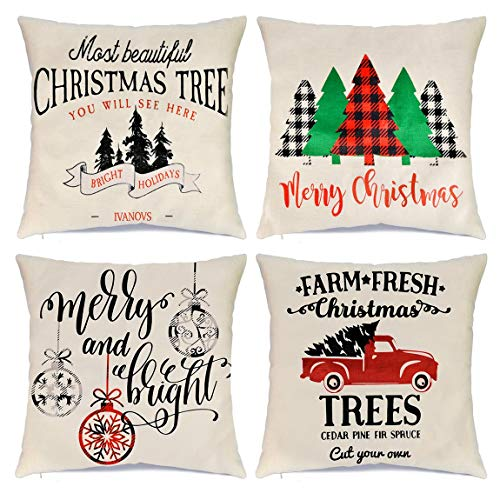 Wareon Christmas Pillow Covers 18x18 inch Set of 4 for Christmas Decorations Farmhouse Decoration Christmas Buffalo Reindeer Decorations Festive Pillow Covers Cute Buffalo Check Throw Pillows