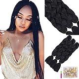 YMHPRIDE Paquete de 3 extensiones de cabello trenzado jumbo negro de 24 pulgadas Kanekalon cabello trenzado jumbo sintético
