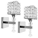 2 PCS Moderna Lampada da parete in cristallo Lampada da parete Camera da letto Corridoio Luce da parete Supporto E14 Presa, lampadina non inclusa (Argento)