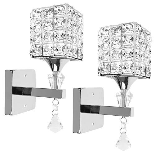 2 PCS Moderne Kristall Wandleuchte LED Kreative Wandlampe Wandlicht für Schlafzimmer, Wohnzimmer, Diele, Esszimmer, Bett, Halterung E14 Sockel, Birne nicht enthalten (Silber)