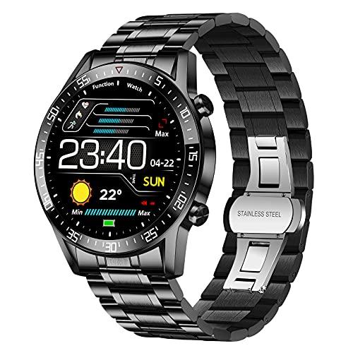 LIGE Smartwatch Herren, Fitness Tracker 1.4 Voll Touchscreen Sportuhr mit Pulsuhr Schrittzähler Aktivitätstracker Blutdruckmessung Musiksteuerung, Edelstahl Band Fitnessuhr für Android iOS Schwarz
