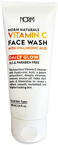 Norm Naturals Vitamin C Hyaluronic Acid Daily Glow Face Wash 100 ml Skin Brightening Dark Spots Removal For oily dry acne prone normal skin SLS Paraben Free