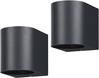 LASIDE Outdoor Wall Lights Pack of 2, Anthracite Grey GU10 Down Outside Wall Lights Electric, IP44 Waterproof Aluminium Ga...