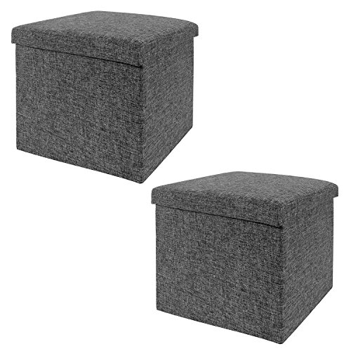 Seville Classics 15.7' Foldable Storage Ottoman Footrest Toy Box Coffee Table (2-Pack) Stool, Charcoal Gray