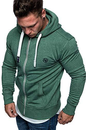 Amaci&Sons Herren Zipper Kapuzenpullover Sweatjacke Pullover Hoodie Sweatshirt 1-04029 Grün M