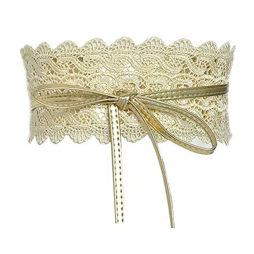 KaariFirefly modischer breiter Bund für Damen, Party, Stretch, schmal, Spitze, Taillenband, Gürtel, Schärpe, Dekoration für Kleid, goldfarben