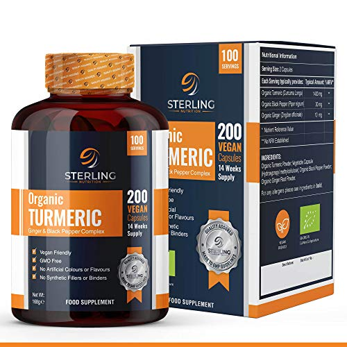 Organic Turmeric Capsules with Black Pepper & Ginger 1440mg – 200 Vegan Turmeric Capsules – High Strength – 100 Days Supply – Active Ingredient Curcumin – Made in UK by Sterling Nutrition