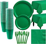 amscan Party City Big Party Pack Festive Green Paper Tableware Party Supplies for 50 Guests, Includes Table Covers and More