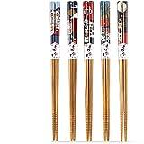 5 Paar Set Essstäbchen Japanische Natur Chopsticks aus umweltfreundlichem Bambus-Holz in edler Schatulle Geschenkbox(Cat) - 2