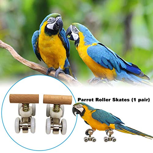 Luckycyc Parrot Roller Skates, Bird Puzzle Toys Parrot Trick Tabletop Toy Mini Roller Skates Toy Intelligence Training Toys for Small Medium Parrots Bird