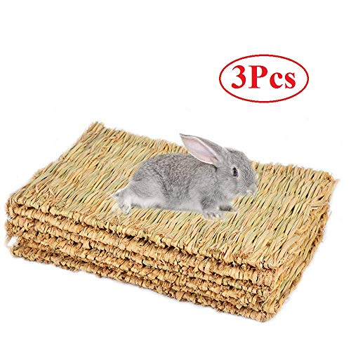 Cedmon Rabbit Mat,Woven Seagrass Mats for Rabbits,Safe & Edible Rabbit Mats for Cages,Bunny Chew...