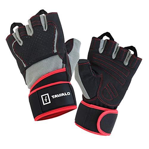 TAVIALO Fitnesshandschuhe, Trainingshandschuhe für Männer, Handschuh Größe M (16-19 cm), doppelte Handfläche, Rot/Grau/Schwarz, AZO- und Phthalatfrei gemäß CE-Standard