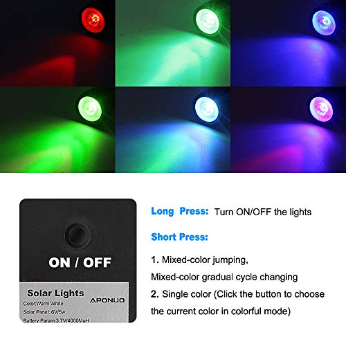 APONUO Solar Spotlights RGB Landscape Lights Color Changing Low Voltage Outdoor Solar Spotlight IP65 Waterproof 9.8ft Cable Auto On/Off for Outdoor Garden Yard Landscape Downlight (Multi-Color)